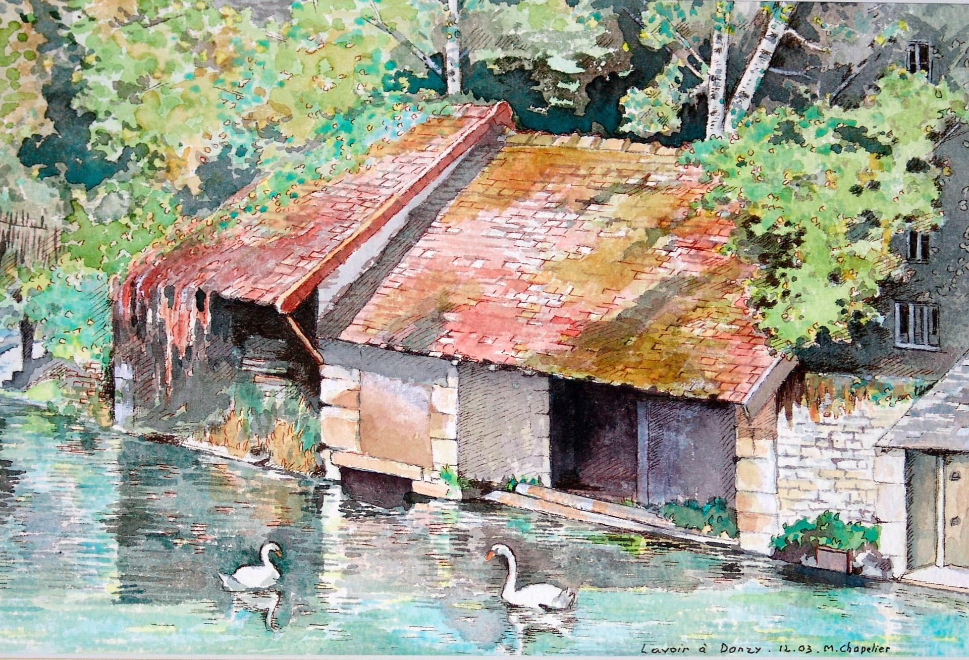 Vieux lavoirs ˆ Donzy - aquarelle