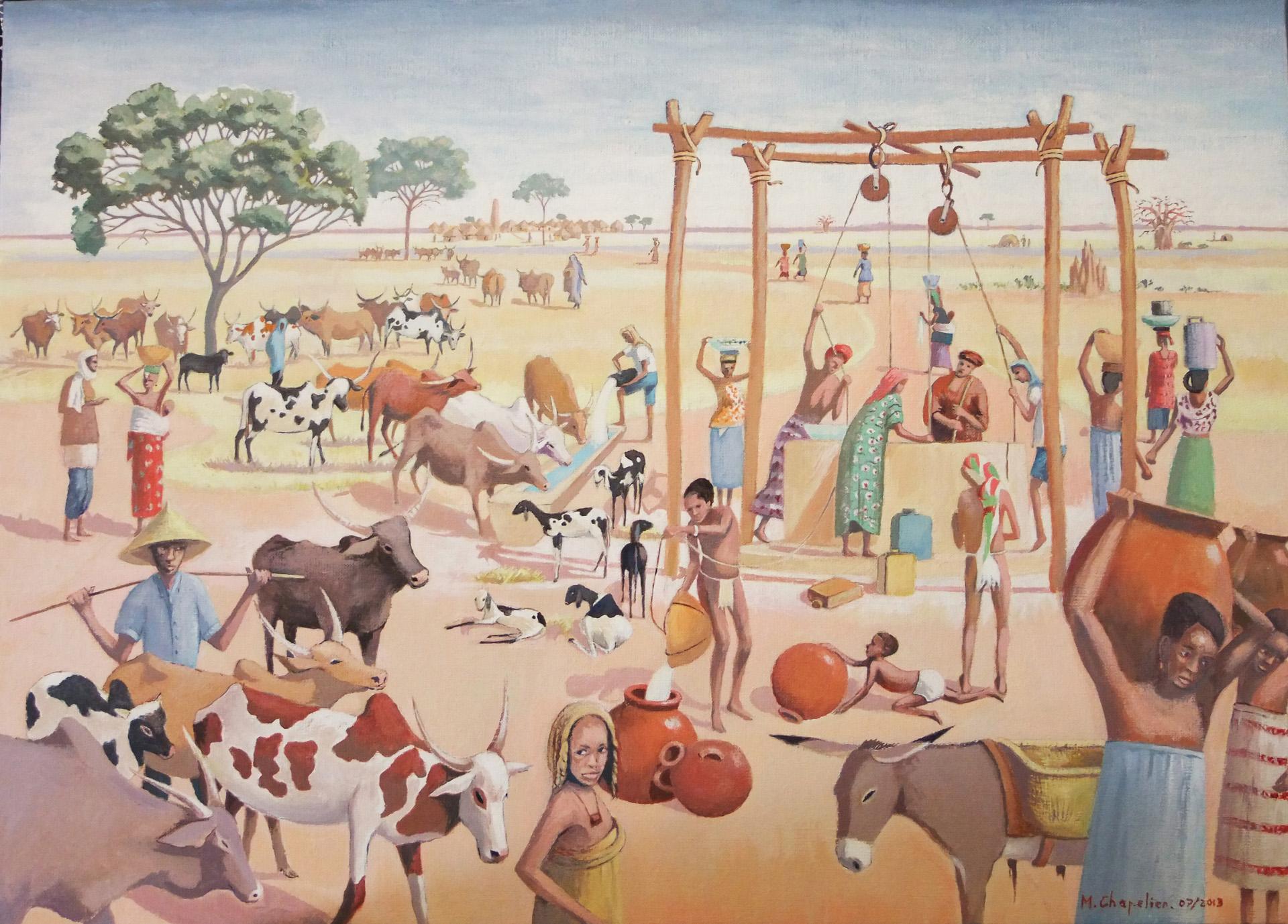Scène autour du puits au Sahel